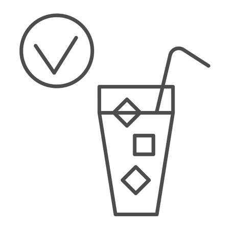 Cold drink and checkmark thin line icon, International dentist day concept, No hypersensitivity tooth sign on white background, Tooth not sensitive to cold icon in outline style. Vector graphics.