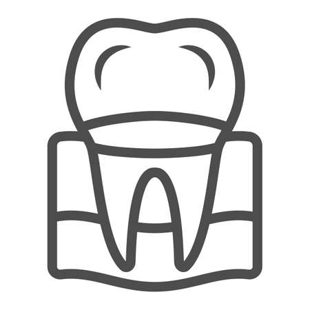 Denture line icon, International dentist day concept, tooth treatment sign on white background, Dental crown icon in outline style for mobile concept and web design. Vector graphics.