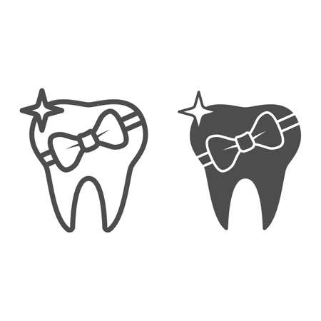 Tooth with bow line and solid icon, International dentist day concept, Healed tooth sign on white background, tooth gift icon in outline style for mobile concept and web design. Vector graphics.