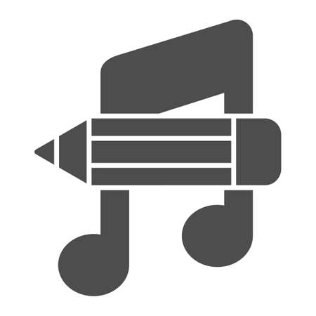 Music note with pencil solid icon, school concept, studying at music school sign on white background, note and pencil icon in glyph style for mobile and web. Vector graphics.