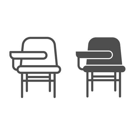 School desk with chair line and solid icon, school concept, furniture for students sign on white background, table and chair icon in outline style for mobile concept and web design. Vector graphics.