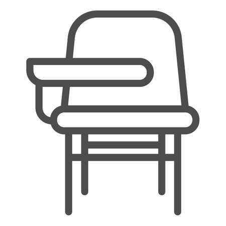 School desk with chair line icon, school concept, furniture for students sign on white background, table and chair icon in outline style for mobile concept and web design. Vector graphics.