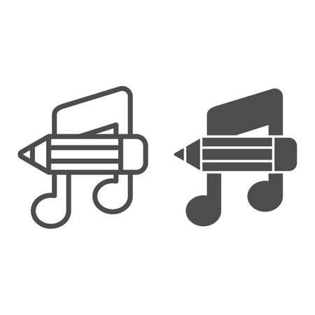 Music note with pencil line and solid icon, school concept, studying at music school sign on white background, note and pencil icon in glyph style for mobile and web. Vector graphics. 矢量图像