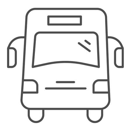 School bus thin line icon, school concept, autobus for students sign on white background, bus for pupil icon in outline style for mobile concept and web design. Vector graphics. Illustration