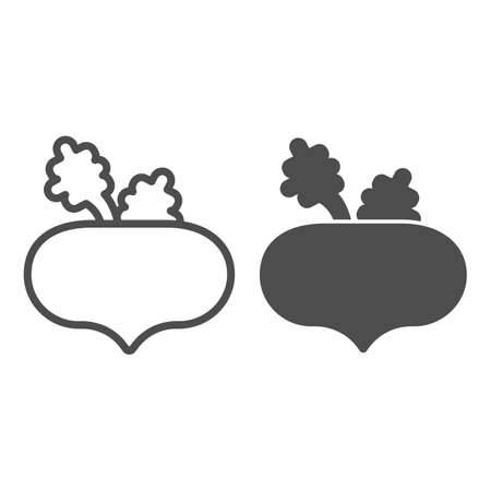 Beet line and solid icon, farm garden concept, Beet root sign on white background, Beetroot vegetable icon in outline style for mobile concept and web design. Vector graphics.
