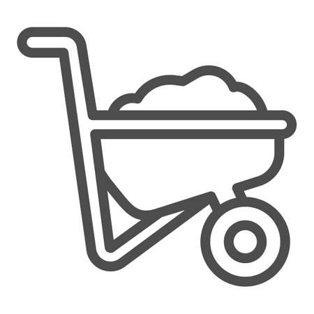 Wheelbarrow with ground line icon, farm garden concept, Wheelbarrow cart sign on white background, trolley with ground icon in outline style for mobile and web design. Vector graphics. Vecteurs