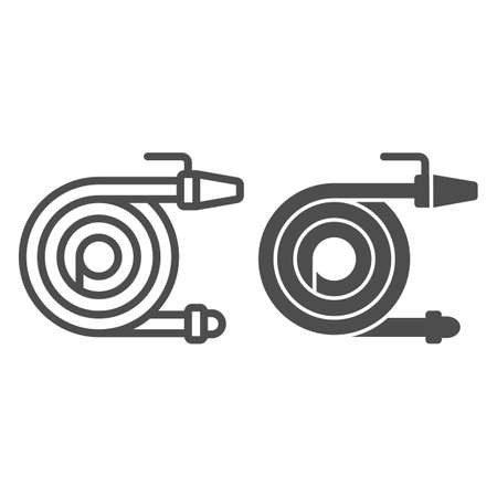 Garden hose line and solid icon, farm garden concept, Watering equipment sign on white background, Spray gun icon in outline style for mobile concept and web design. Vector graphics.