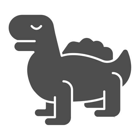 Dinosaur solid icon, kid toys concept, tyrannosaurus reptile sign on white background, silhouette dinosaur toy icon in glyph style for mobile concept and web design. Vector graphics.