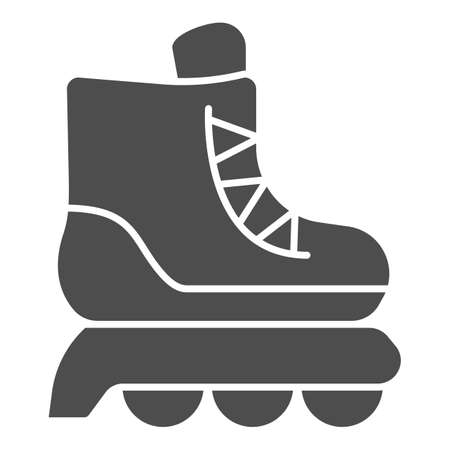 Roller skates solid icon, kid toys concept, skating shoe sign on white background, Sport shoe icon in glyph style for mobile concept and web design. Vector graphics.