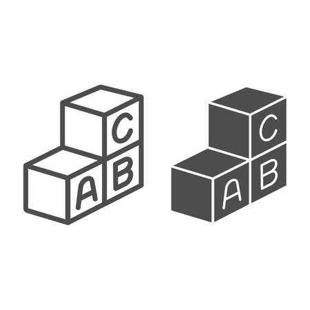 Cubes with first letters of alphabet line and solid icon, kid toys concept, ABC cubes sign on white background, letter block toy icon in outline style for mobile and web design. Vector graphics.