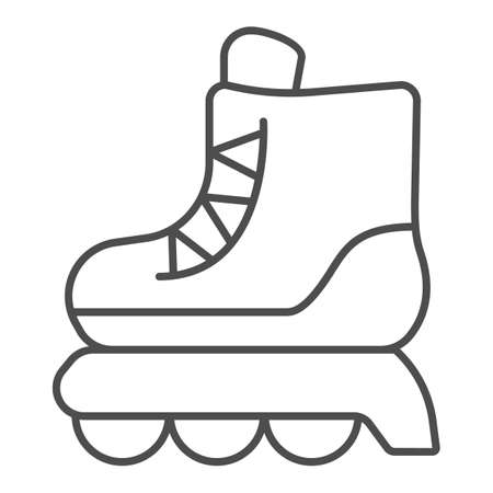 Roller skates thin line icon, kid toys concept, skating shoe sign on white background, Sport shoe icon in outline style for mobile concept and web design. Vector graphics.