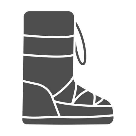 Fuzzy winter boot solid icon, Winter clothes concept, Warm shoes sign on white background, winter footwear icon in glyph style for mobile concept and web design. Vector graphics.
