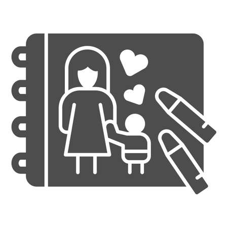 Family drawing and crayons solid icon, Mother day concept, mother with kid in sketchbook sign on white background, Kids drawing icon in glyph style for mobile, web design. Vector graphics.