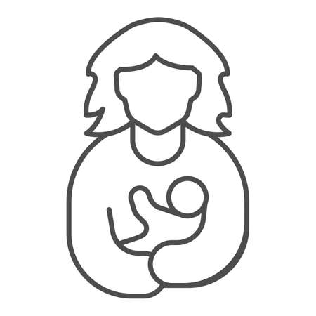 Mother and child thin line icon, Mother day concept, mothers care sign on white background, mother holding baby icon in outline style for mobile concept and web design. Vector graphics.