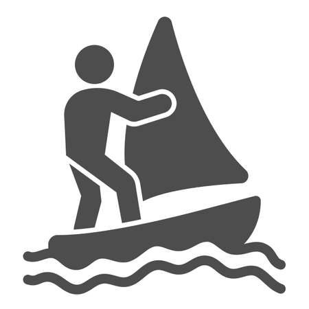 Windsurfer solid icon, waterpark concept, windsurfing sign on white background, windsurfer silhouette icon in glyph style for mobile concept and web design. Vector graphics. Ilustração