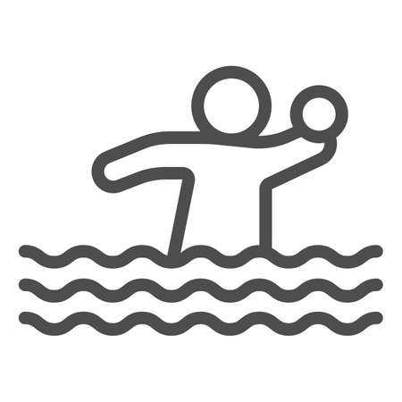Volleyball player with ball in water line icon, waterpark concept, Water Volleyball sign on white background, Water polo icon in outline style for mobile and web design. Vector graphics.
