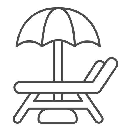Beach chair with umbrella thin line icon, waterpark concept, Beach Lounger sign on white background, Sunbed and umbrella icon in outline style for mobile concept and web design. Vector graphics.