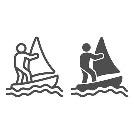Windsurfer line and solid icon, waterpark concept, windsurfing sign on white background, windsurfer silhouette icon in outline style for mobile concept and web design. Vector graphics. Ilustração