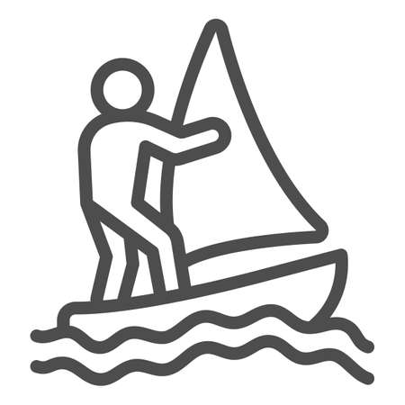 Windsurfer line icon, waterpark concept, windsurfing sign on white background, windsurfer silhouette icon in outline style for mobile concept and web design. Vector graphics.