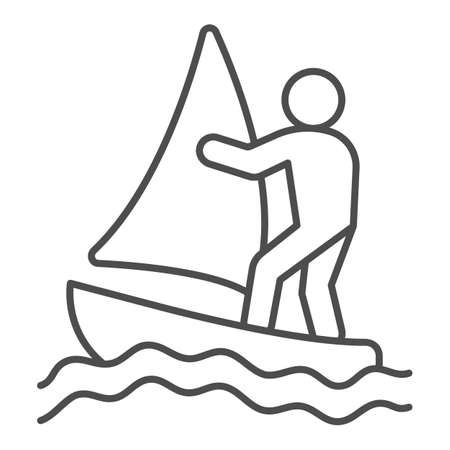 Windsurfer thin line icon, waterpark concept, windsurfing sign on white background, windsurfer silhouette icon in outline style for mobile concept and web design. Vector graphics.