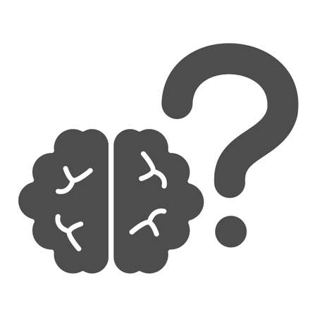 Brain with question mental health solid icon, human health concept, brain with question mental health sign on white background, mental health icon in glyph style. Vector graphics.