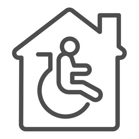 Residential handicap assistance line icon, disability concept, disabled care, nursing home sign on white background, residential handicap assistance icon in outline style . Vector graphics.  イラスト・ベクター素材