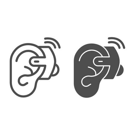 Ear hearing aid line and solid icon, disability concept, ear and hearing aid sign on white background, deaf aid icon in outline style for mobile concept and web design. Vector graphics.