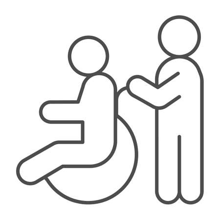 Care for a person in a wheelchair thin line icon, disability concept, disable person wheelchair sign on white background, disable person wheelchair icon in outline style. Vector graphics.