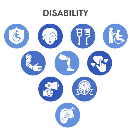 Modern Disability Infographic design template with icons. Caring for sick Infographic visualization in bubble design on white background. Healthcare. Creative vector illustration for infographic.