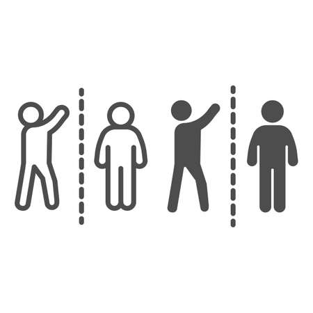 Man with raised hand divided with another person line and solid icon, social distancing concept, Sickness prevention sign on white background, two people keep safe distance icon in outline style Çizim