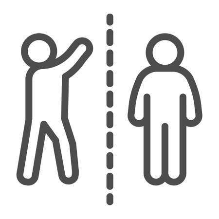 Man with raised hand divided with another person line icon, social distancing concept, Sickness prevention sign on white background, two people keep safe distance icon in outline style.