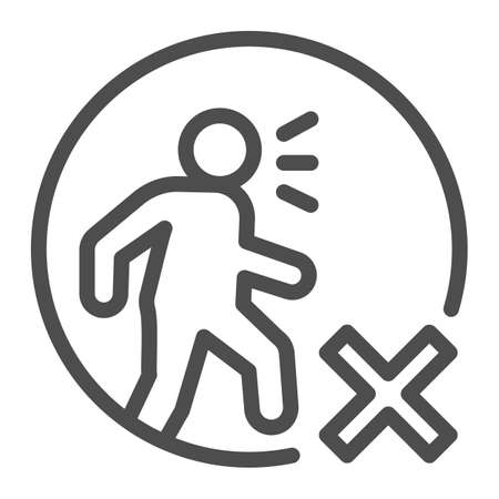 Forbidding sick people to go out line icon, social distancing concept, do not walk prohibition sign on white background, Do Not Walk in Epidemic icon in outline style. Vector graphics.