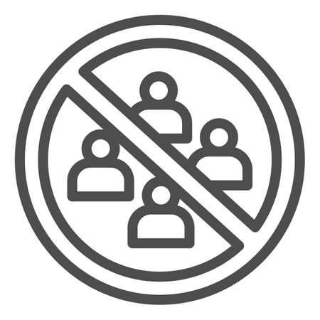 No gathering in group of people line icon, social distancing concept, Avoid Crowds sign on white background, Ban on gathering symbol in outline style for mobile and web. Vector graphics.