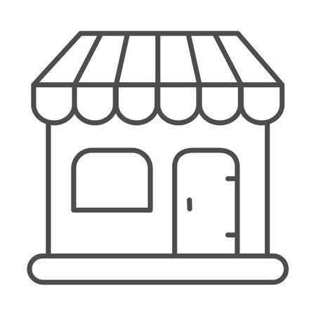Shop thin line icon, shopping concept, store sign on white background, commercial building icon in outline style for mobile concept and web design. Vector graphics. Çizim