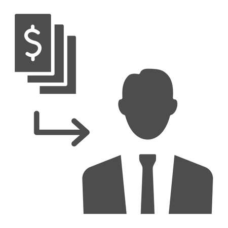 Pay black money to person solid icon, Black bookkeeping concept, Money cash corruption sign on white background, bribery icon in glyph style for mobile concept, web design. Vector graphics.
