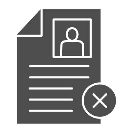 Employee profile with cross solid icon, Black bookkeeping concept, questionnaire with cancel sign on white background, Refusal to formalize the employee icon glyph style. Vector graphics. Ilustrace