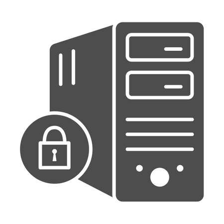 Computer and lock solid icon, Black bookkeeping concept, Closed server sign on white background, Server security with closed padlock icon in glyph style. Vector graphics. Ilustrace