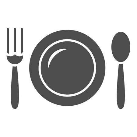 Plate and spoon with fork solid icon, Black bookkeeping concept, Lunch at a restaurant sign on white background, lunch cutlery icon in glyph style for mobile, web design. Vector graphics.