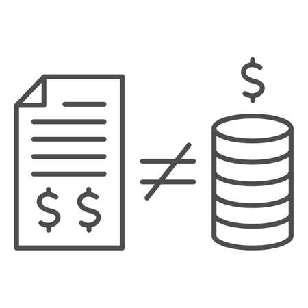 Contract with money and inequality sign thin line icon, Black bookkeeping concept, Mismatch of money in report sign on white background, inequality in bookkeeping icon in outline style. Vector.