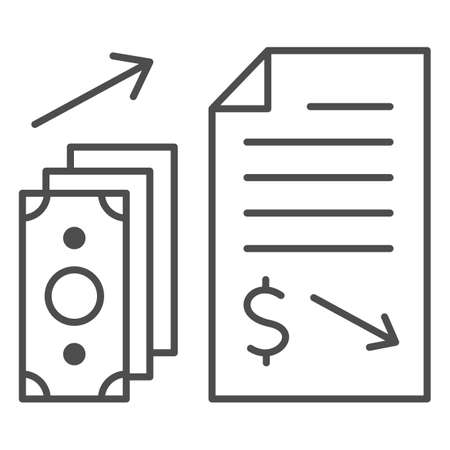 Financial contract with money giving thin line icon, Black bookkeeping concept, Income in shadows sign on white background, Paid contract icon in outline style for mobile, web. Vector graphics. Ilustrace