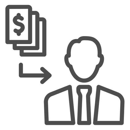Pay black money to person line icon, Black bookkeeping concept, Money cash corruption sign on white background, bribery icon in outline style for mobile concept, web design. Vector graphics.