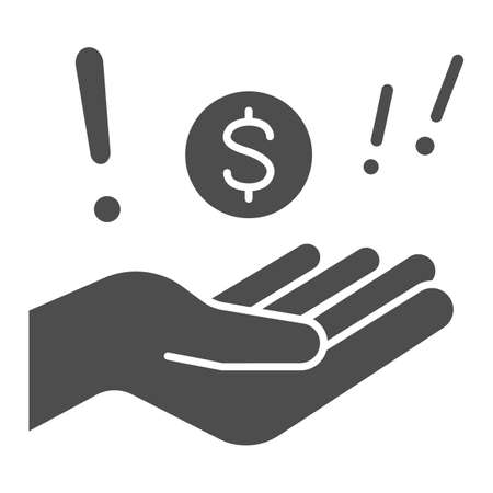Hand with dollar and exclamation solid icon, Black bookkeeping concept, Illegal cashing of funds sign on white background, coin in hand in corruption deal icon in glyph. Vector graphics.