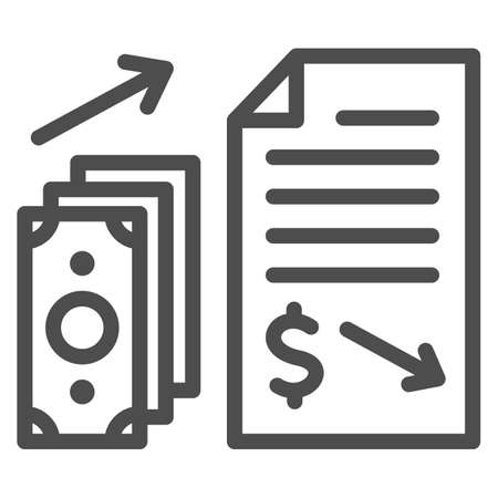 Financial contract with money giving line icon, Black bookkeeping concept, Income in shadows sign on white background, Paid contract icon in outline style for mobile, web. Vector graphics. Ilustrace