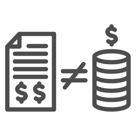 Contract with money and inequality sign line icon, Black bookkeeping concept, Mismatch of money in report sign on white background, inequality in bookkeeping icon in outline style. Vector.