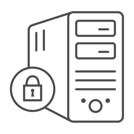 Computer and lock thin line icon, Black bookkeeping concept, Closed server sign on white background, Server security with closed padlock icon in outline style. Vector graphics. Ilustrace