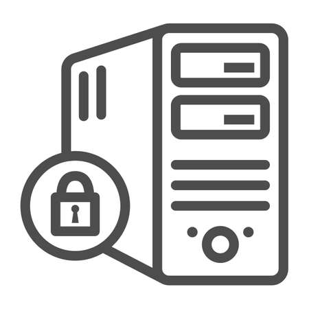Computer and lock line icon, Black bookkeeping concept, Closed server sign on white background, Server security with closed padlock icon in outline style. Vector graphics.