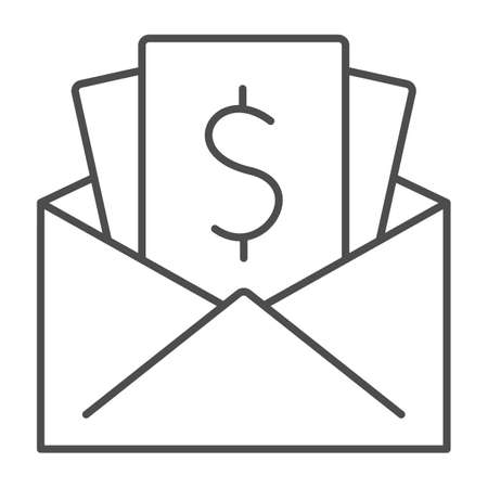 Salary in envelope thin line icon, Black bookkeeping concept, Give black salary sign on white background, Wages in envelope icon in outline style for mobile concept, web design. Vector graphics. Ilustrace