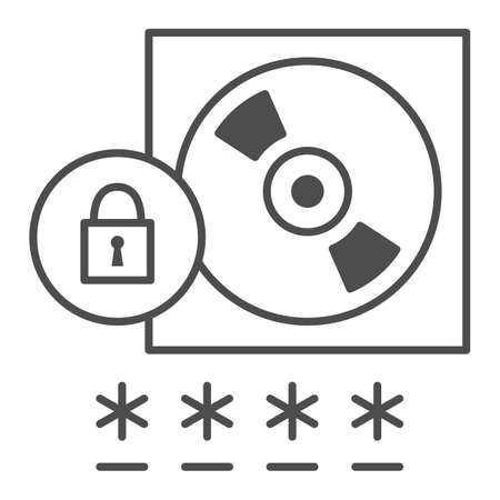 CD with Password protected data thin line icon, Black bookkeeping concept, Data Protection sign on white background, Computer disk and lock icon in outline style for mobile, web. Vector graphics.
