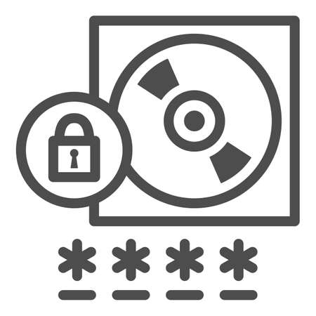 CD with Password protected data line icon, Black bookkeeping concept, Data Protection sign on white background, Computer disk and lock icon in outline style for mobile, web. Vector graphics. Ilustrace