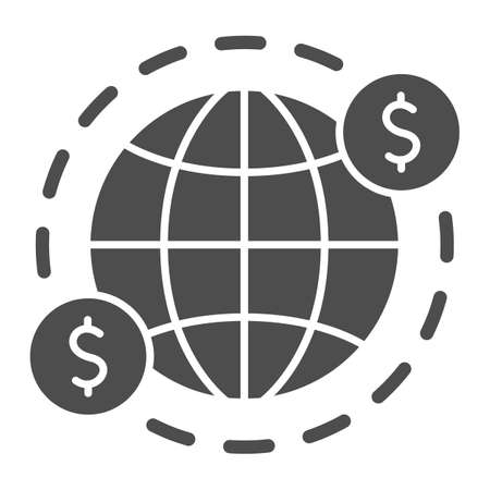 Earth and US Dollars Symbol solid icon, Black bookkeeping concept, cash offshore sign on white background, International currency money transfers icon in glyph style. Vector graphics.